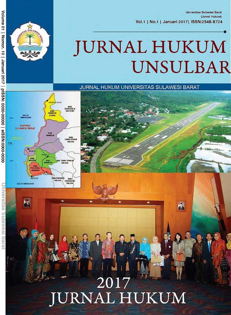 cover Jurnal Hukum Unsulbar