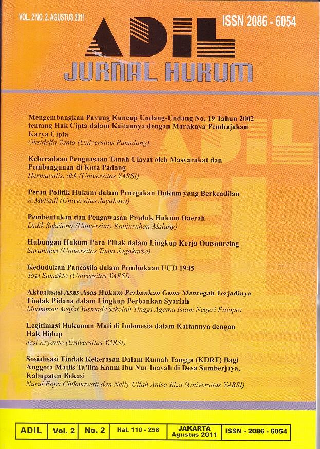 cover ADIL - Jurnal Hukum YARSI
